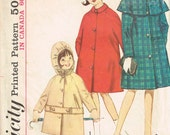 Classic Girls Coat Pattern, Simplicity 5568 Vintage 1960s Button Up Coat Pattern Size 8