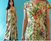 60s Vintage Hawaiian Maxi Dress 1960s Tiki Party Dress Empire Waist Dress Hawaiian Muu Muu Dress Draped Back Floral Maxi Caftan Dress XS / S