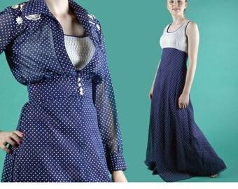 Sheer Bohemian Maxi Dress / 70s Vintage Party Dress Navy Polka Dot Sleeveless Empire Waist Maxi Dress / Sheer Cropped Jacket Top XS / S