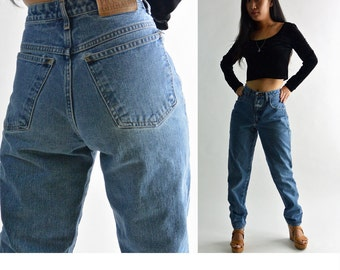 Vintage 80s High Waisted Jeans Vintage GIRBAUD Jeans Taper Jeans Faded & Distressed High Waist Mom Jeans 1980s Vintage Denim Jeans 26 Waist