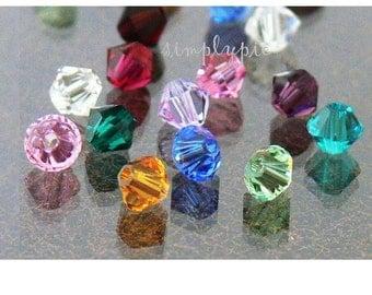 Swarovski Birthstone Collection - 4mm Crystal Beads 24 Ruby Sapphire Topaz Zircon Rose Aquamarine Emerald Alexandrite Amethyst Garnet Clear