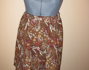 Brown Aboriginal Kangaroo Print Skirt