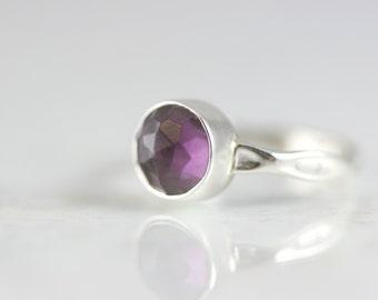 Sterling Silver Amethyst Ring - February Birthstone Ring - Round Cut Bezel Set Gemstone Ring - Purple Amethyst Birthstone Ring
