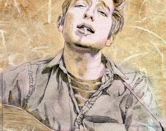 Bob Dylan-portrait of a young poet, print from original drawing, portrait art, music, rock star, folk music. 1960's