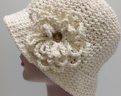 Large Hat, Ivory Cotton Crochet Sun hat, Winter hat, Great for Chemo Patients, Size Large, Brimmed hat