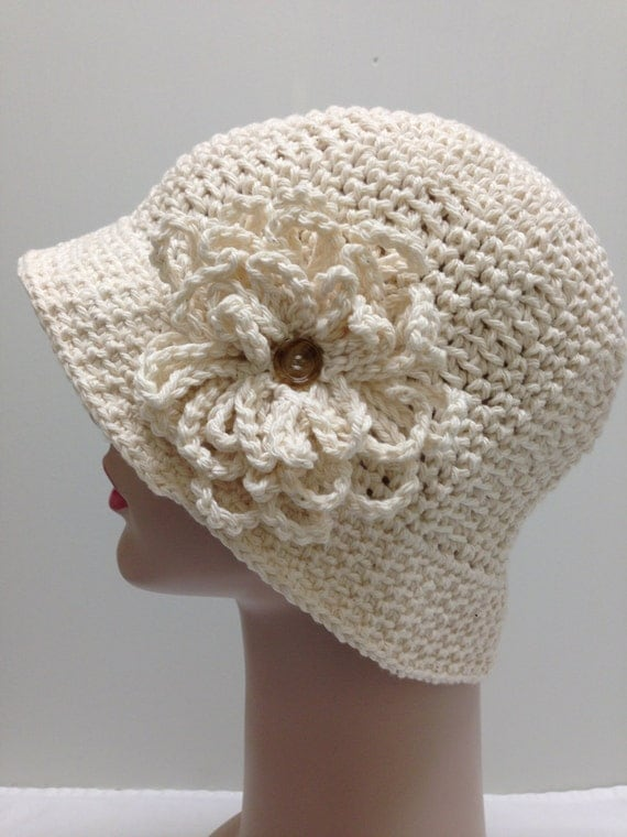 Crocheting Hats For Cancer Patients : , Ivory Cotton Crochet Sun hat, Winter hat, Great for Chemo Patients ...