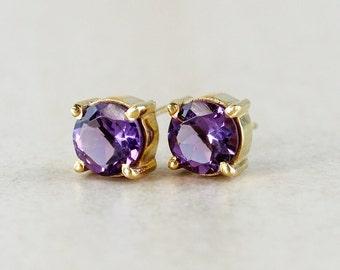 Mini Purple Amethyst Stud Earrings - Birthstone Studs - February Birthstone