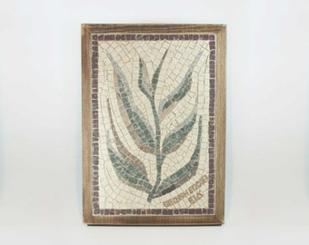 Handmade Mosaic with marble tiles- home decor - Plant 03