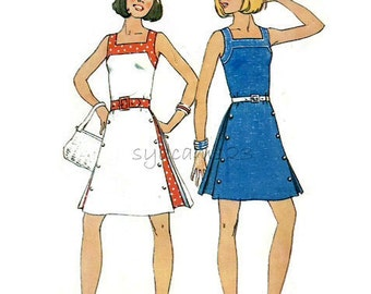 Vintage 1970s Pattern Square Neckline Sundress Side Inverted Pleats and Button Trim 1975 Simplicity 6981 Bust 32.5