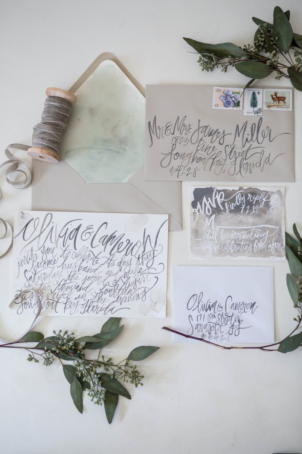 Organic Watercolor Calligraphy Dusty Grey Hand Lettering
