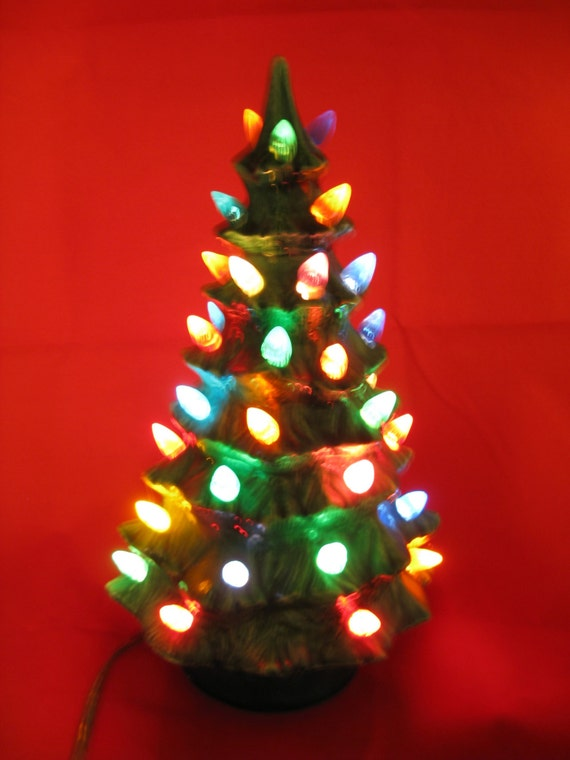 1960 S Ceramic Christmas Tree 9 Small Lighted Tree