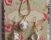Vintage Floral Pattern, Dainty Mini Porcelain Teacup Hook/Dangle Earrings, Mini Pitcher Pendant Necklace Set - FREE SHIPPING
