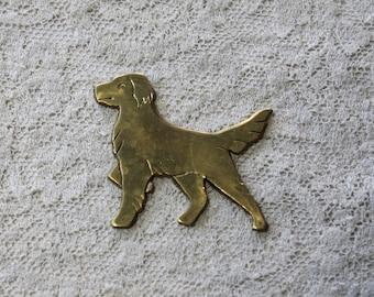 2 Vintage Brass Golden Retriever Dogs // 1960s Stampings // 60s 70s Craft Jewelry Supply // NOS // Puppy Love
