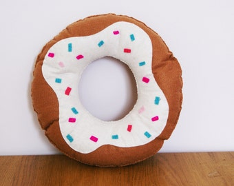 9 inch Doughnut Cushion with White icing and sprinkles Soft Toy Plush Pillow Cool Food Felt Donut