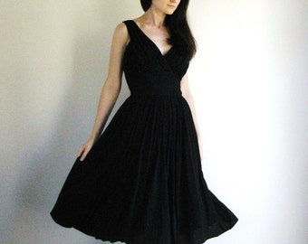 Vintage 1950s Black Dress Draped Bombshell Dress 1960s Miss Elliette XS