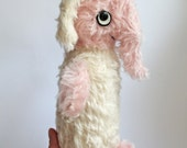 pink and cream mohair elephant