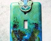 Teal Green Hamsa, light switch cover, switch plate, mixed media, blues, greens, turquoise, teal,
