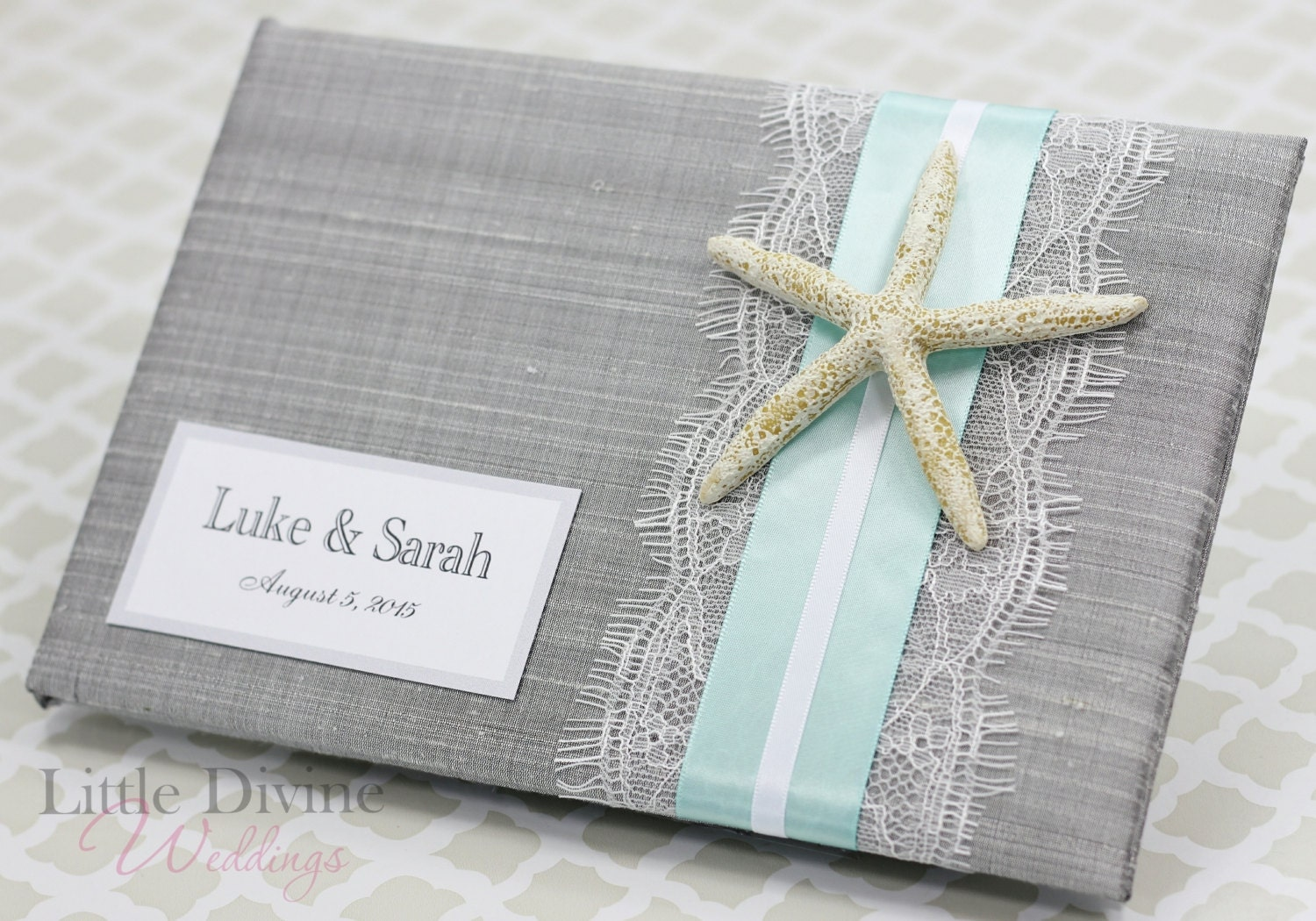 wedding guest book beach theme starfish custom made silver