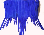 Bohemian Fringe Suede Bag in Electric Blue