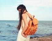 Jubileo Backpack . Tan  Tooled leather