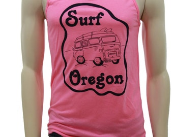 Surf Oregon| Soft Lightweight tank top| Hometown| Travel tees| Beach apparel| VW bus| Surfing| Unisex tank top| Summer top.