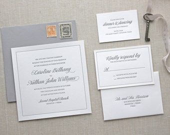 Letterpress Wedding Invitation - Carlyle Design - Calligraphy,Traditional, Elegant, Simple, Classic, Square, Custom, Formal, Border