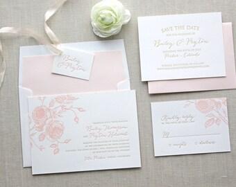 Letterpress Wedding Invitation - Juliet Design - Foil, Calligraphy,Traditional, Elegant, Simple, Classic, Flower, Destination, Summer