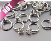 Bestseller / 4 Miniature engagement rings charms, promise rings, bridal / wedding jewelry, 1838-BR