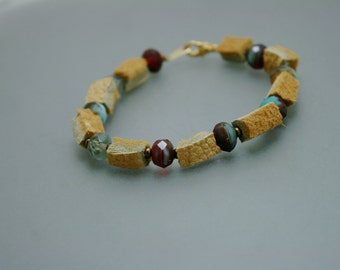 Tongue Tied - Alaska Native moose hide leather and glass bead bracelet