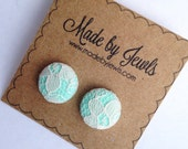Fabric Button Earrings - Creme de la Menthe - Ivory Lace and Mint - Buy 3, get 1 FREE