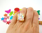 Food Ring Miniature Breakfast Pastry Ring - Adjustable Ring MADE TO ORDER