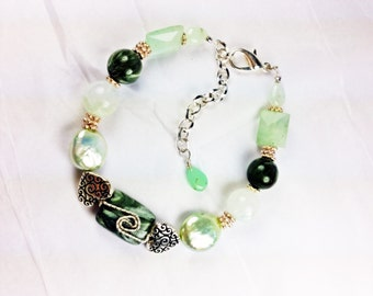 Dark Seraphinite, Green Fluorite, Chrysoprase, and Mint Green Pearl Bracelet