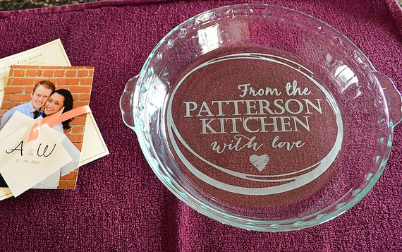 From the {Your Name} Kitchen With Love Customized Pie Plate - Your Name Here - Hearts - Engraved Pie Plate
