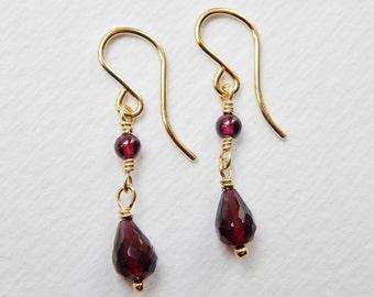 Garnet Drop Earrings - Gold Filled Beaded Earrings Dangle Earrings Beadwork Earrings Faceted Garnet Beads