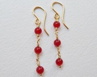 Red Jade Earrings - Gold Filled Beaded Earrings Dangle Earrings Beadwork Earrings Drop Three Stone Earrings