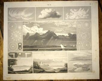 1851 WEATHER PATTERNS antique engraving -  original antique print - cloud clouds sky view