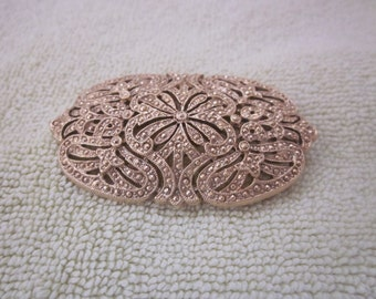 GOLD MARCASITE  Oblong Style BROOCH Pin