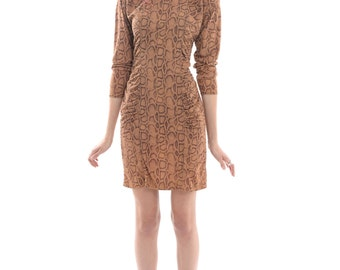 Vtg 80s Cool Awesome Snakeskin Faux Suede Gathered Bodycon Mini Dress S
