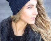 Knitted Cashmere Beanie Navy Blue Women Hat Winter Soft Beanie