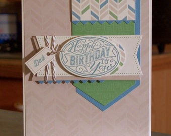 "Handmade Birthday Card for Dad - 4.25"" x 5.5"" - Die-Cut Banners - Hand Stamped Phrase & Tag"
