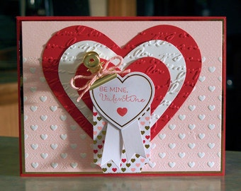 "Handmade Be Mine Valentine's Day Card - 4.25"" x 5.5"" - Embossed Die-Cut Hearts & Banners - Lot's of Dimension"