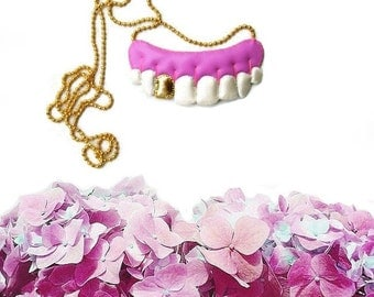 Human Teeth Necklace, Gold Tooth Necklace, vegan necklace, vegan jewelry