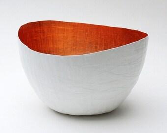 Paper Mache Vessel / White and Copper / Decorative Bowl / Paper Bowl / Paper Mache / Paper Mache Bowl