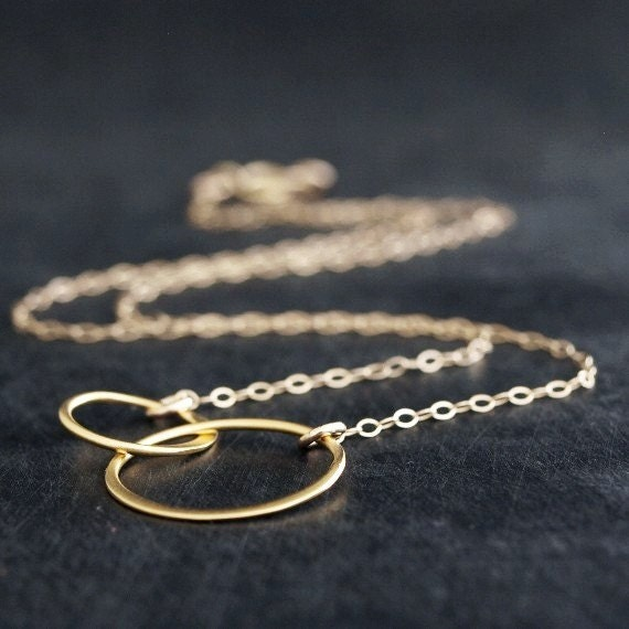 Entwined Gold Rings Necklace, Two Rings Necklace, Eternity Necklace, Interlocked Circles Jewelry