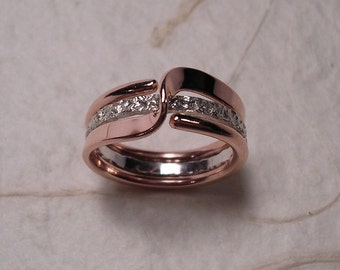 Mock Pavé™ Textured Sterling Silver Band Inside A Pure Copper Two Turn Wave Energy Ring™