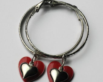 Red & Silver Heart Hoop Earrings, Gifts for Women Mom Wife Sister Daughter Grandma Under 20, Stocking Stuffers, Valentines Jewelry