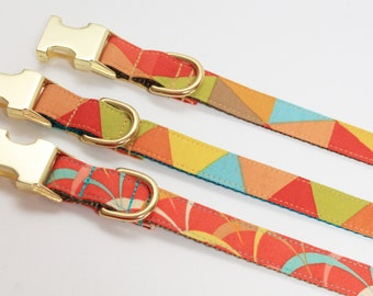Geometric Abstract Adjustable Fabric Dog Collar- Brass/ Gold Buckle- Dog Collar- Mod Dog