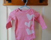 Baby Bodysuit: Pink with Batik Hearts, Long Sleeves (6 months) READY TO SHIP
