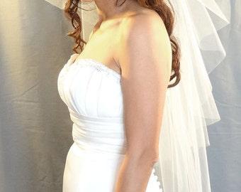 Wedding Veil, Butterfly Cut Veil, Fingertip Length Veil, Bridal Veil