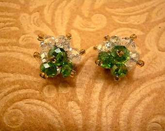 St. Patricks Day Irish Crystal Shamrock Threaded Post Earrings